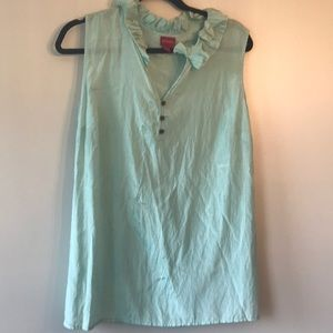Mint Colored Blouse with ruffle top